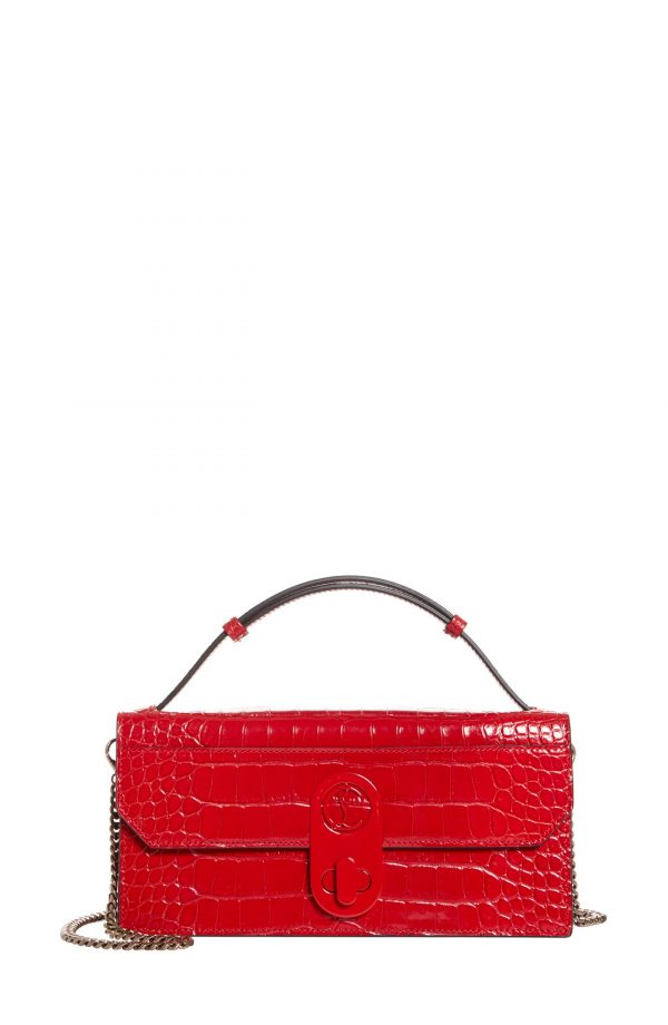 Christian Louboutin Elisa Croc Embossed Leather Baguette Bag - Red