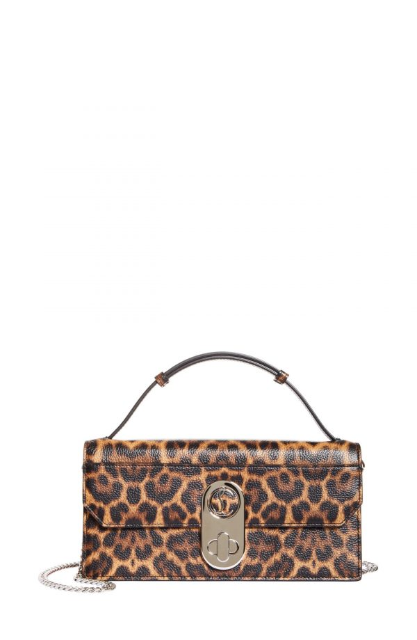 Christian Louboutin Elisa Leopard Print Leather Baguette Bag - Brown