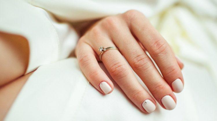 Closeup Minimalist Engagement Ring Model Hand