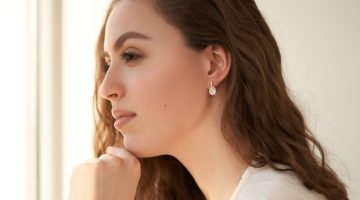 Closeup Model Diamond Huggie Pendant Earring Jewelry Beauty