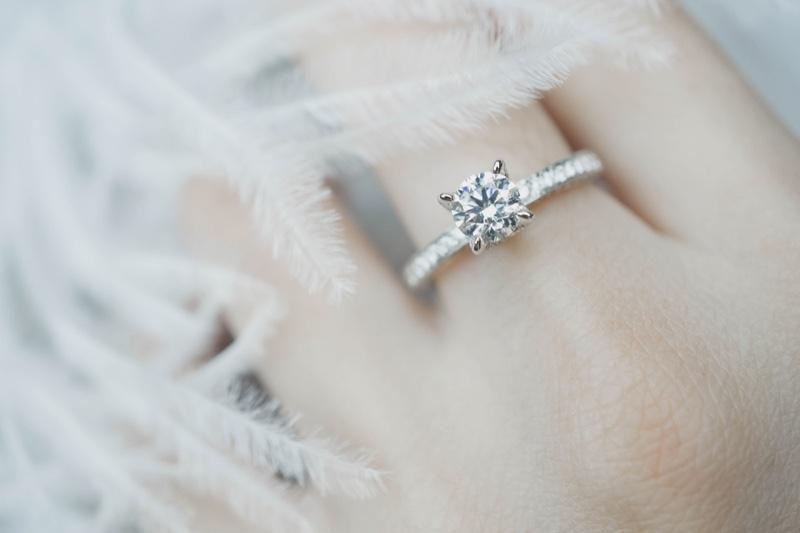 Closeup Simple Diamond Engagement Ring