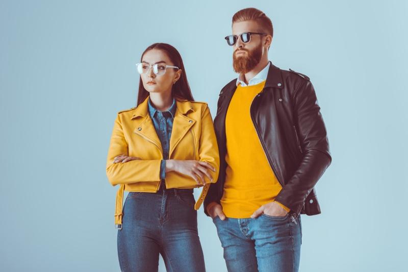 Couple Man Woman Yellow Black Leather Jackets