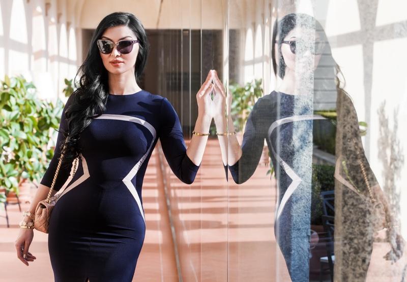 Curvy Model Form-Fitting Dress Sunglasses Reflection
