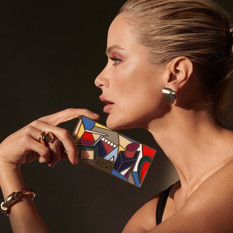 Carolyn Murphy poses for Estee Lauder x MET Collection campaign.