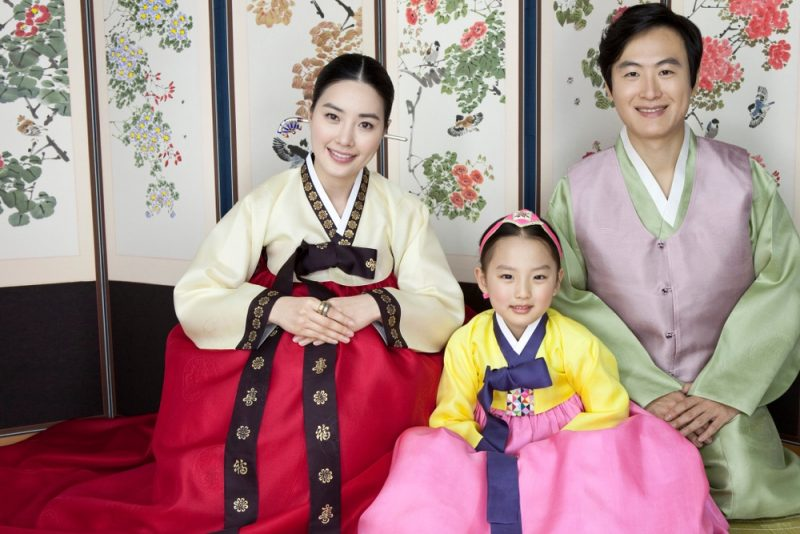 Family Wearing Korean Hanboks