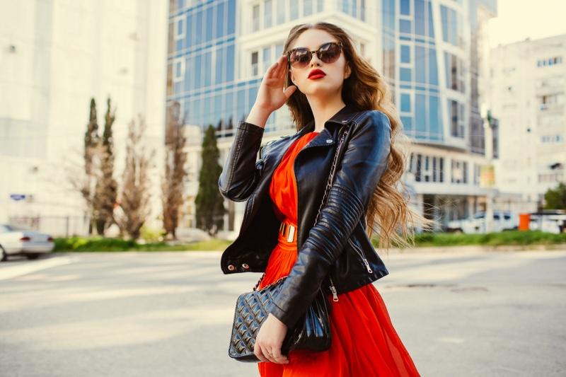 Fashion Model Leather Jacket Red Dress Style