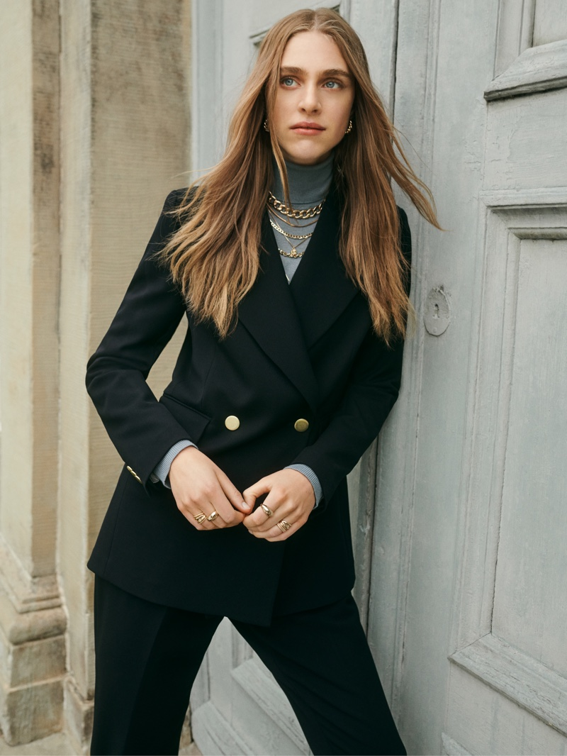 Hedvig Palm models suiting in Giuliva Heritage x H&M campaign.