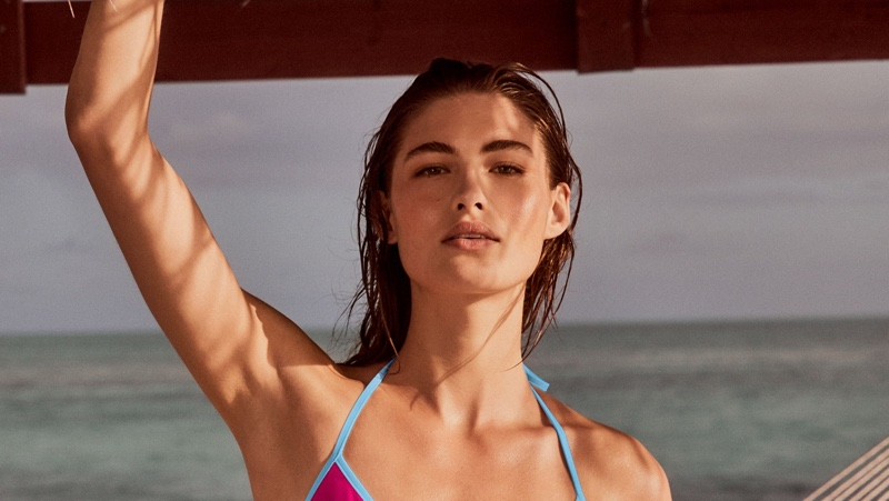 Grace Elizabeth stars in Victoria's Secret Swim high summer 2020 campaign.