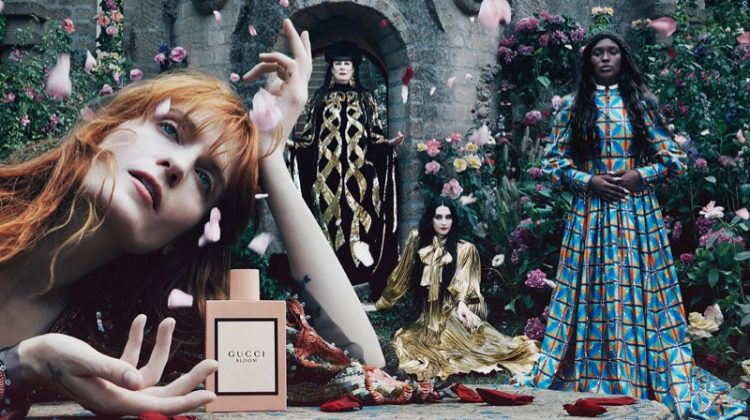 Florence Welch, Anjelica Huston, Jodie Turner-Smith, and Susie Cave star in Gucci Bloom fragrance campaign.