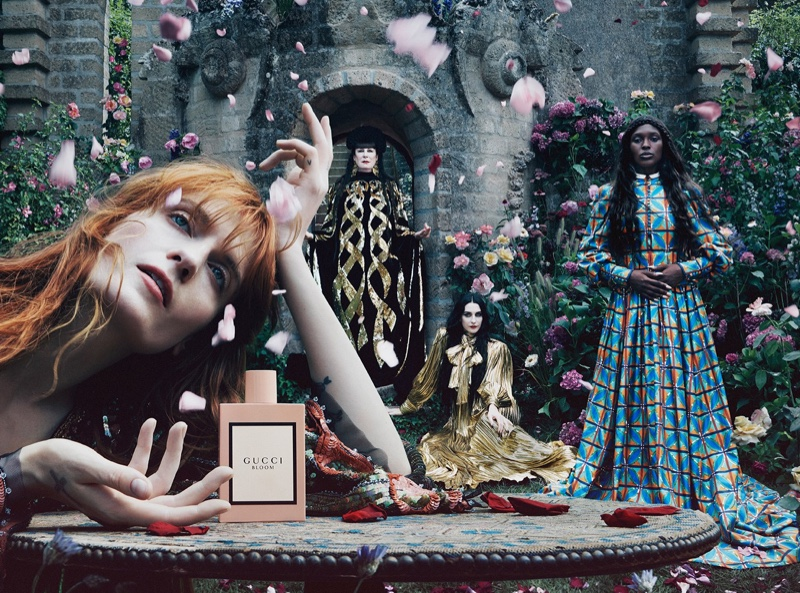 Florence, Jodie, Anjelica & Susie Front Gucci 'Bloom' Fragrance Campaign