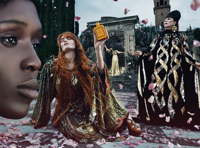 Jodie Turner-Smith, Florence Welch, Susie Cave, and Anjelica Huston front Gucci Bloom fragrance campaign.