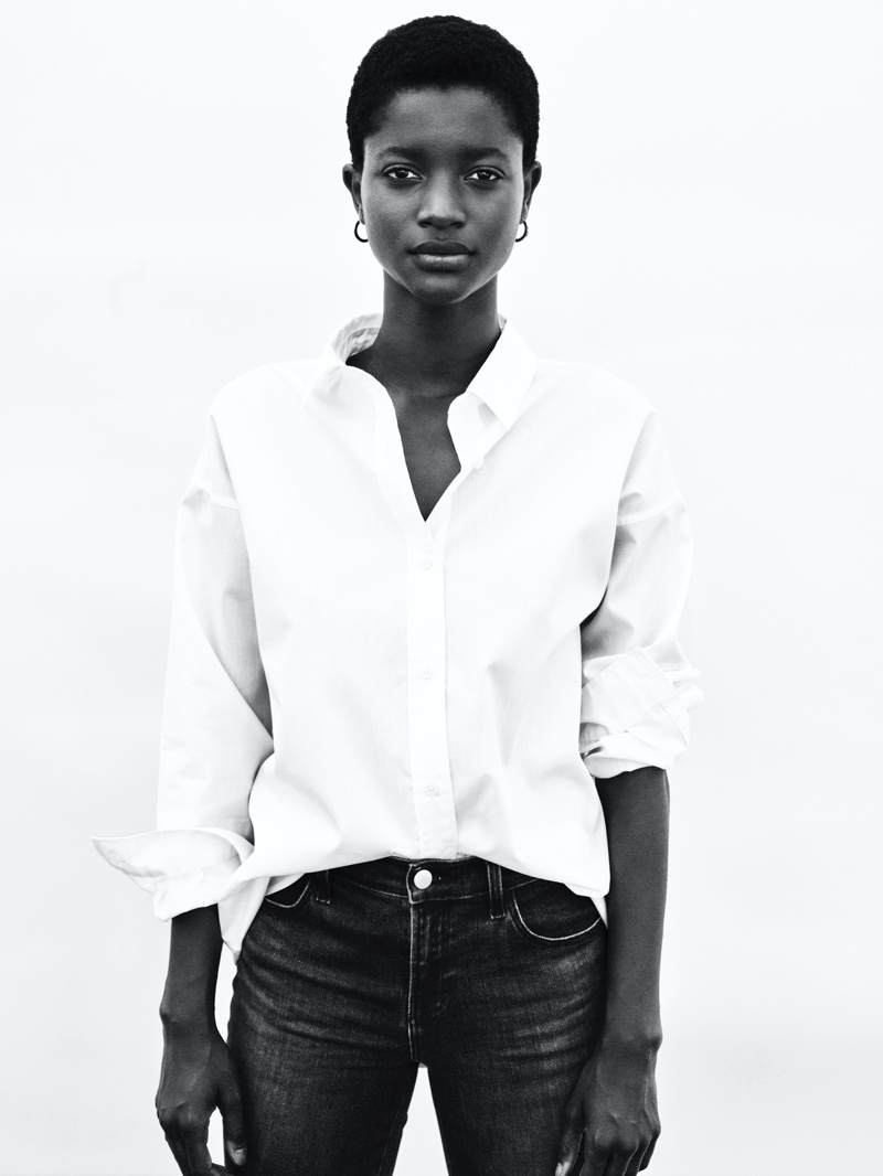 Oumie Jammeh stars in J. Brand fall-winter 2020 campaign.