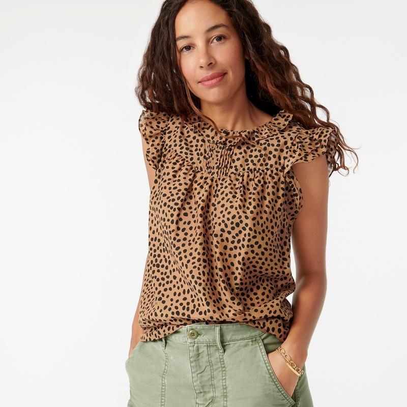 J. Crew Flutter-Sleeve Cotton-Silk Voile Top in Leopard Dot $89.50