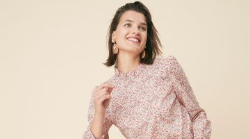 J. Crew Long-Sleeve Ruffleneck Top in Liberty Phoebe Floral $110