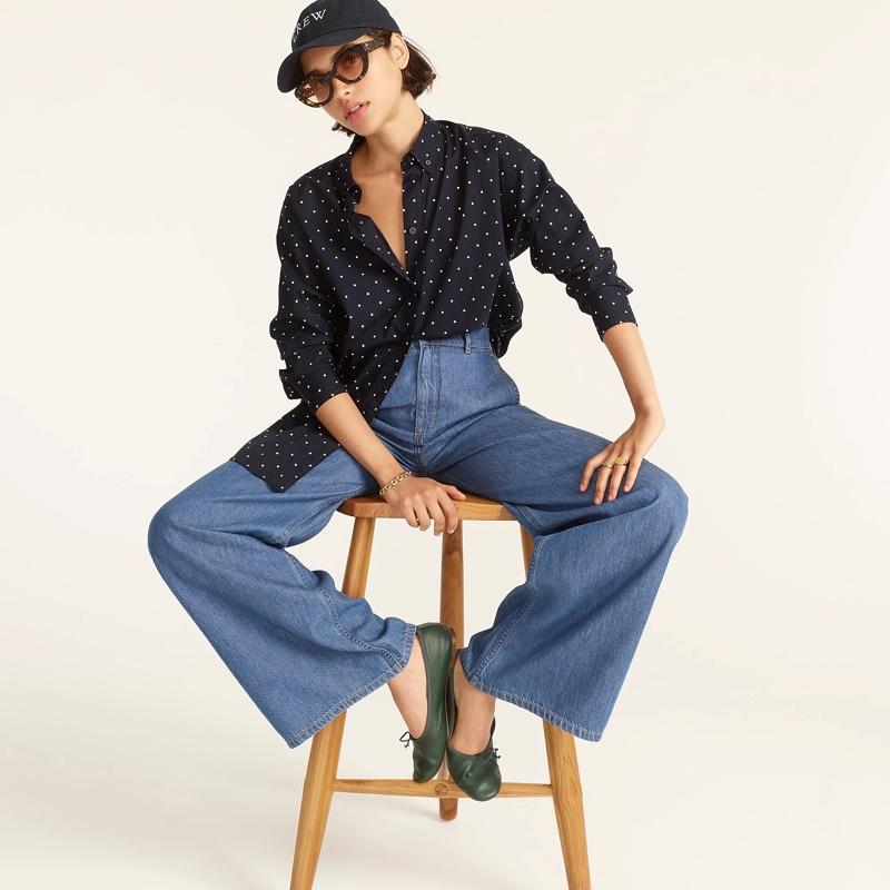 J. Crew Relaxed-Fit Lightweight Cotton Poplin Shirt in Dots $79.50