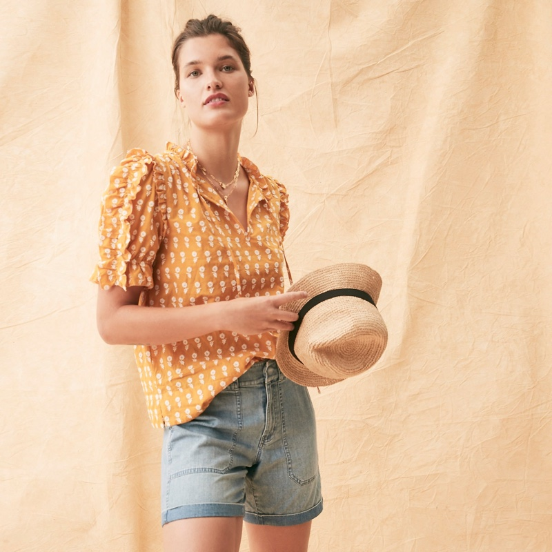 J. Crew Ruffle-Sleeve Cotton Voile Top in Floating Sunflowers $89.50