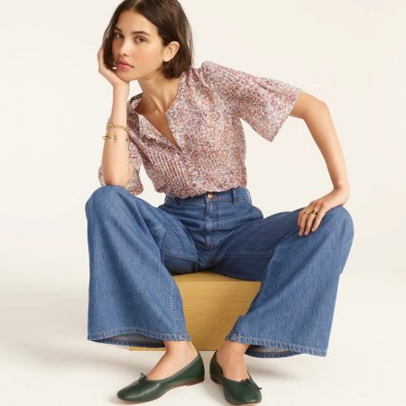 J. Crew Silk Cotton Voile Pintuck Top in Blooming Floral $118