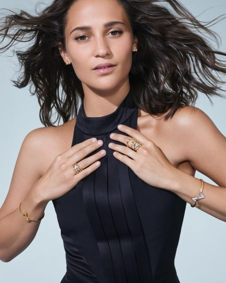 Alicia Vikander stars in Louis Vuitton LV Volt fine jewelry campaign.