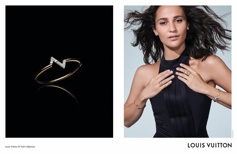 Actress Alicia Vikander poses in LV Volt fine jewelry campaign.