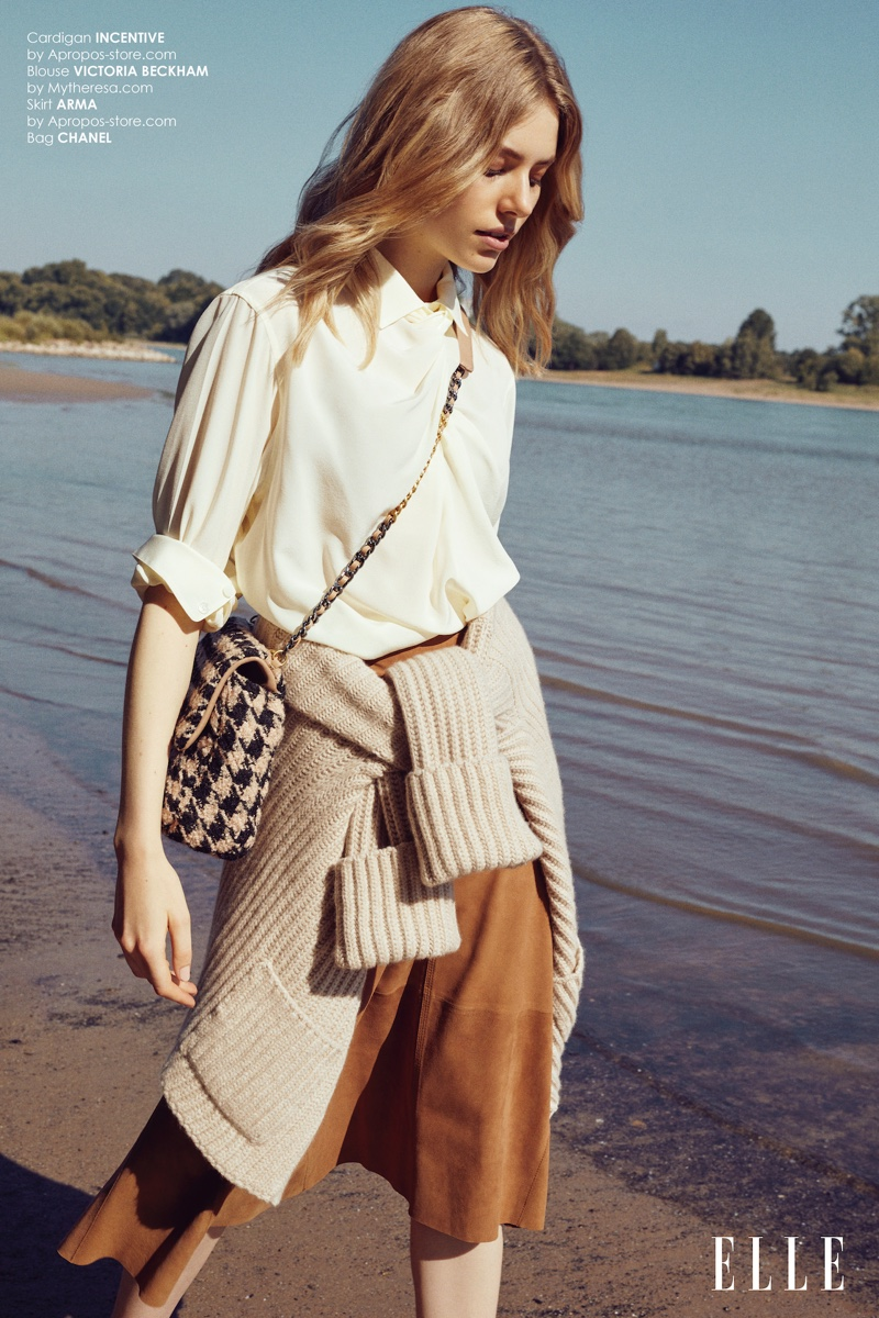 Louise Fankhanel Models Neutral Styles for ELLE Bulgaria