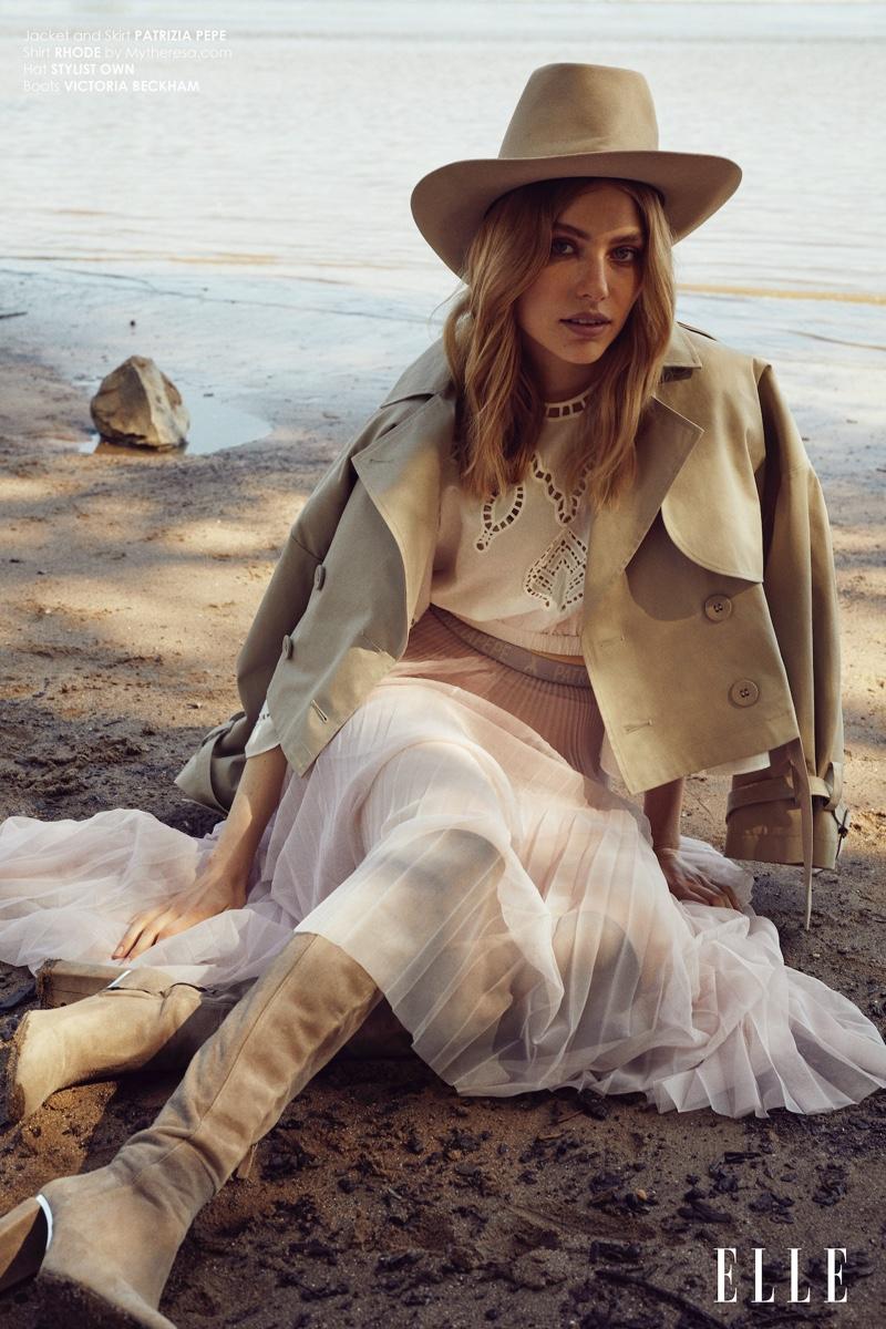 Louise Fankhanel Models Neutral Styles for ELLE Bulgaria