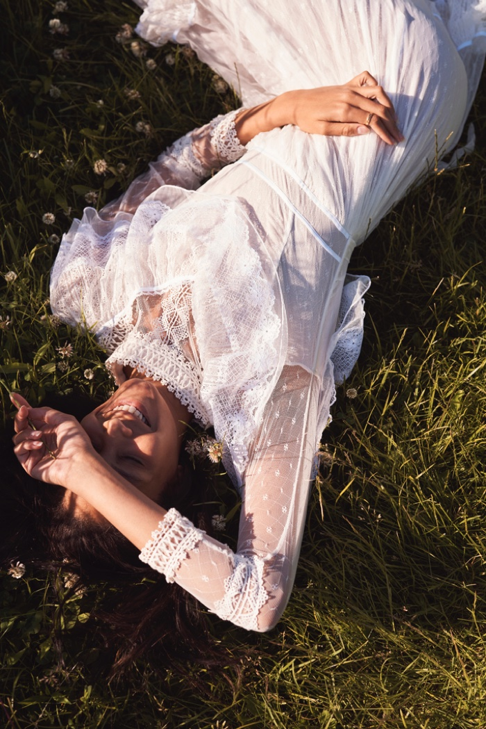 Chantal Monaghan poses for LoveShackFancy Bridal summer 2020 campaign.