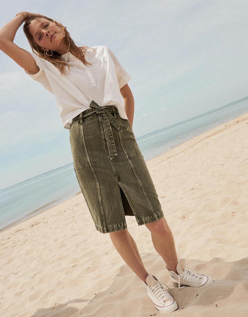 Madewell Shirred-Yoke Popover Top $65, Garment-Dyed Rigid Denim Seamed Midi Skirt $98 & Converse Chuck 70 High-Top Sneakers $85
