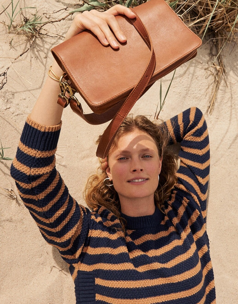 Madewell Striped Pickford Pullover Sweater $79.50 & The Flap Convertible Crossbody Bag $138