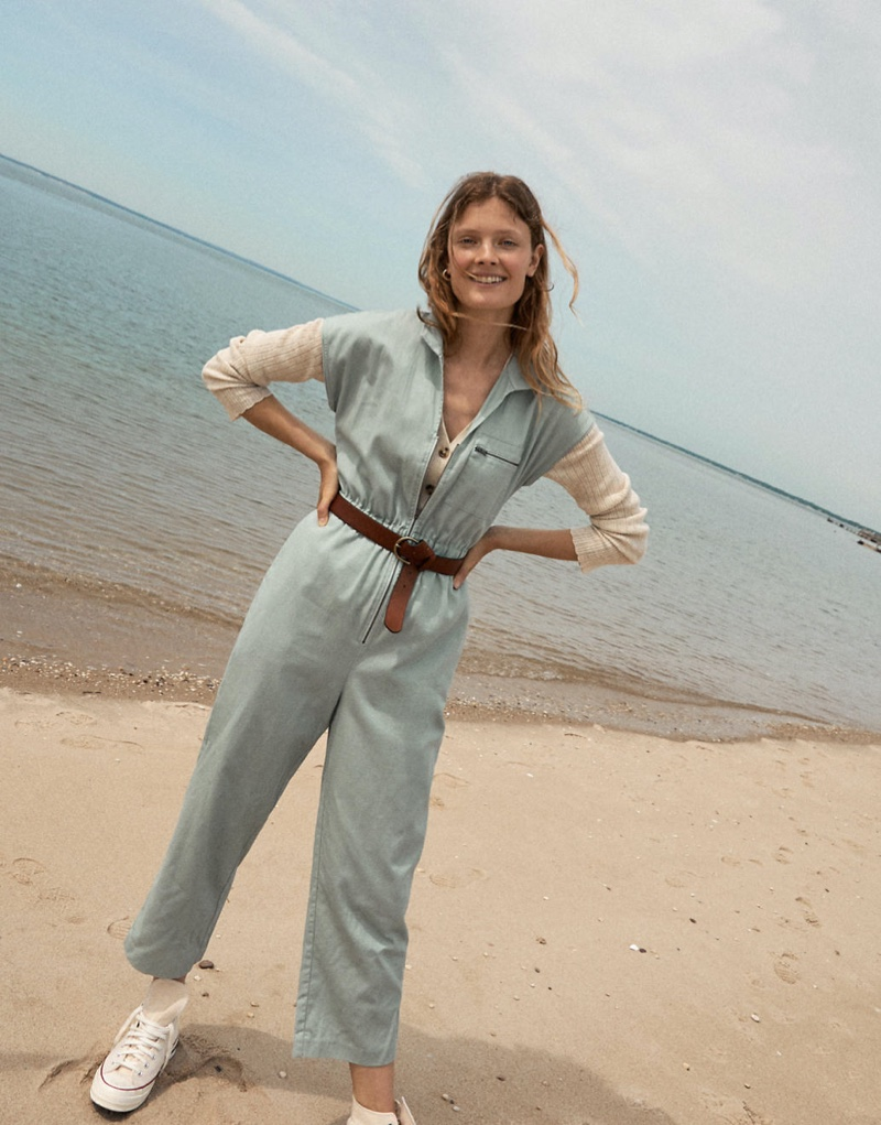 Madewell Short-Sleeve Zip-Pocket Coverall Jumpsuit $138, Pointelle Ribbed Cardigan Sweater $64.50 & Converse Chuck 70 High-Top Sneakers $85