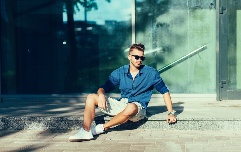 Male Model Shirt Shorts Sneakers Summer Look