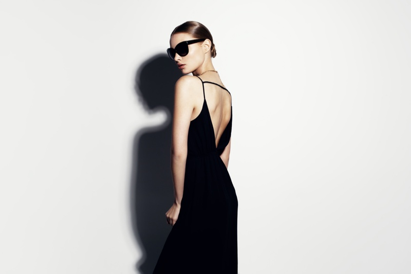 Model Black Open Back Dress Sunglasses Fashion