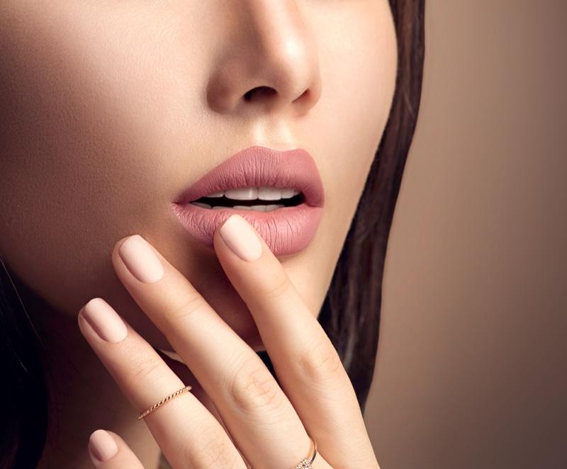 Model Closeup Pink Nails Beauty
