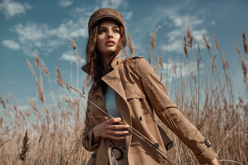 Model Outdoors Field Brown Jacket Hat Nature