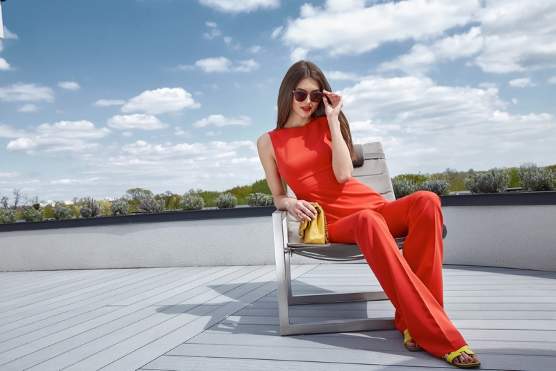 Model Red Outfit Pants Top Outside Fashion