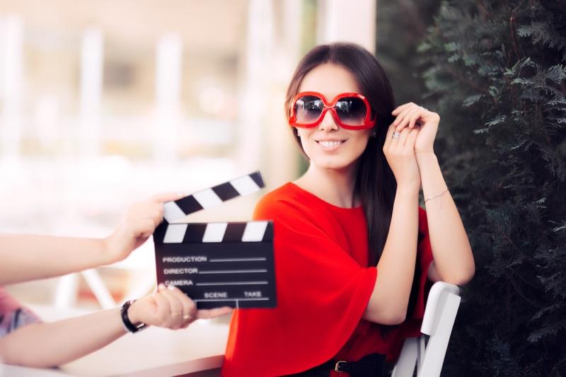 Model Smiling Camera Movie Video Set