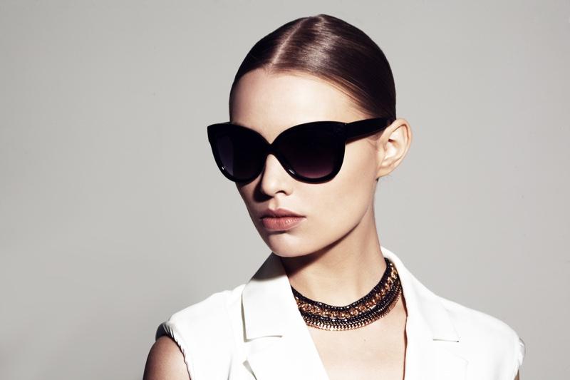 Model Sunglasses Necklace Closeup