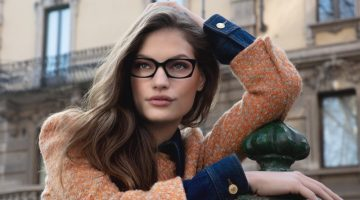 Faretta stars in Moschino eyewear 2020 campaign.