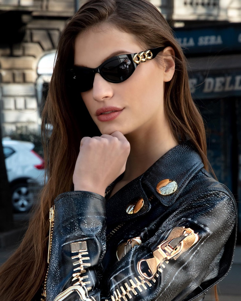 Clad in leather, Faretta fronts Moschino eyewear 2020 campaign.
