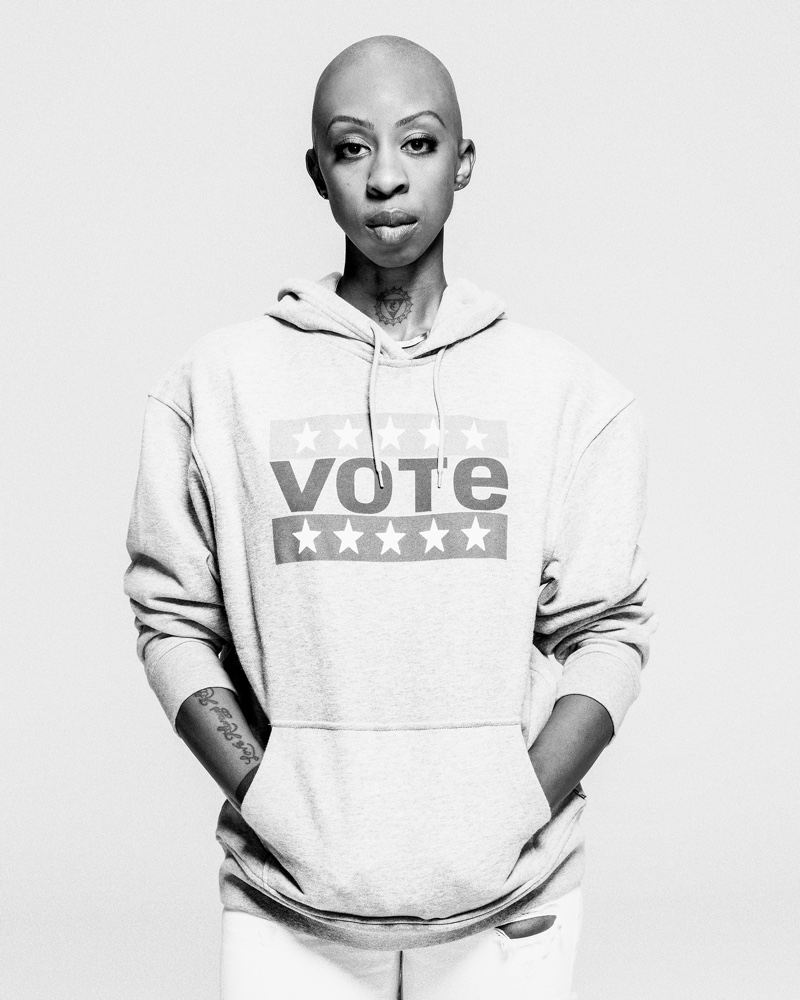 Oge Egbuonu poses for Levi's Use Your Voice voting campaign.