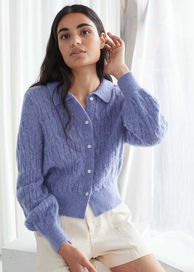 & Other Stories Alpaca Blend Cable Knit Cardigan $89