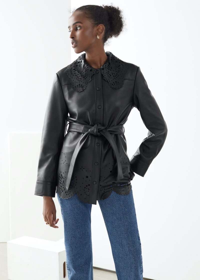 & Other Stories Belted Laser Cut Leather Jacket $449