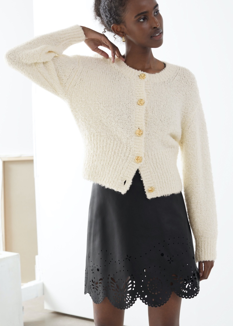 & Other Stories Bouclé Knit Cropped Cardigan in Off White $99