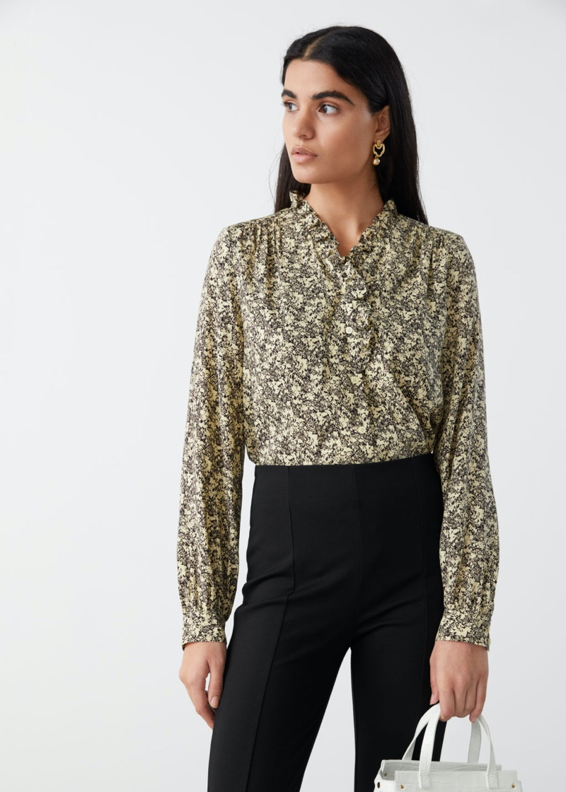 & Other Stories Button Up Ruffle Blouse in Yellow Florals $89