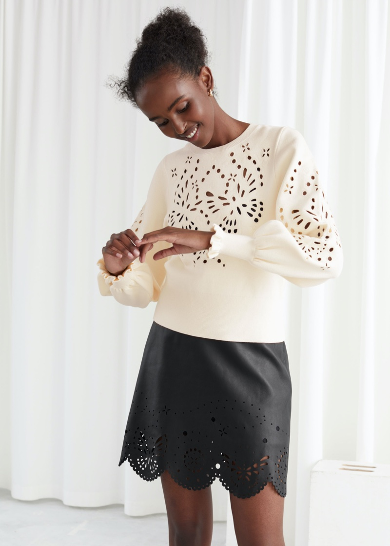 & Other Stories Embroidered Jacquard Knit Sweater in Creme $99