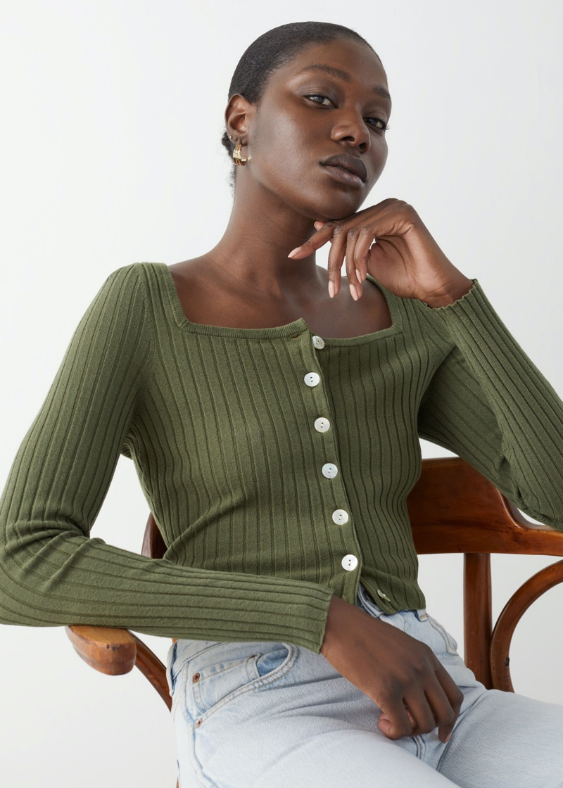& Other Stories Fitted Ribbed Button Up Cardigan $59