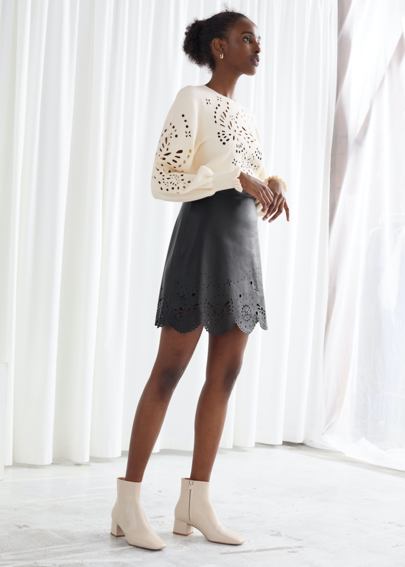 & Other Stories Laser Cut Leather Mini Skirt $249