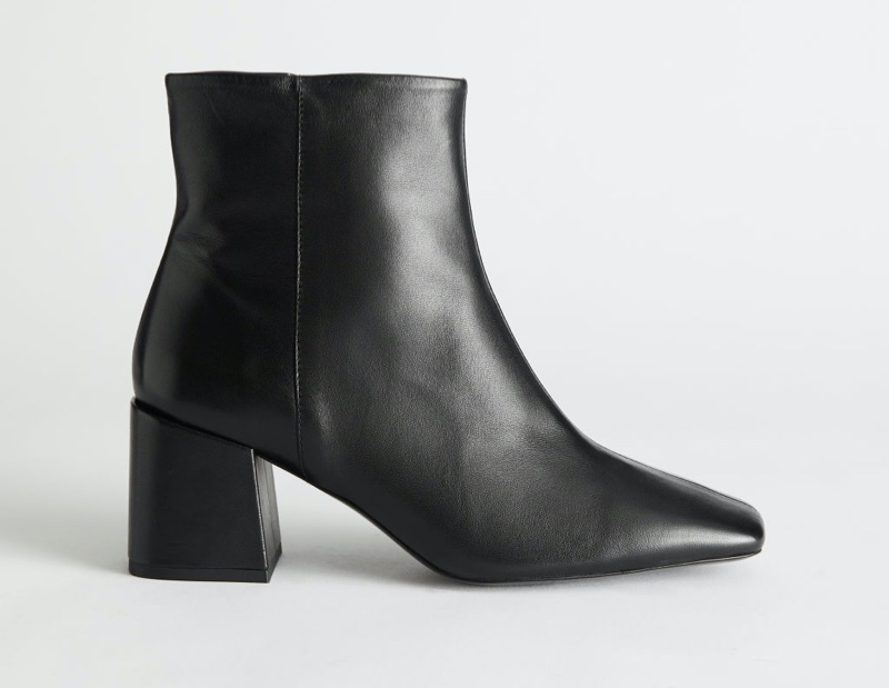 & Other Stories Leather Square Toe Heeled Boots in Black