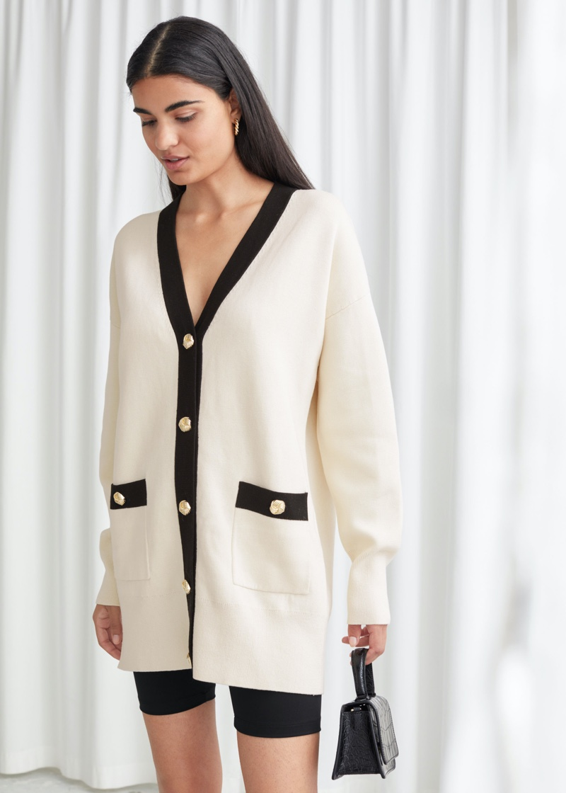 & Other Stories Oversized Gold Button Cardigan $119