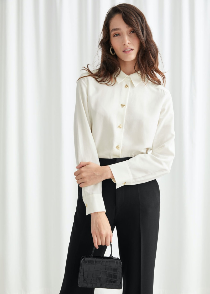 & Other Stories Relaxed Bee Button Shirt in White $99