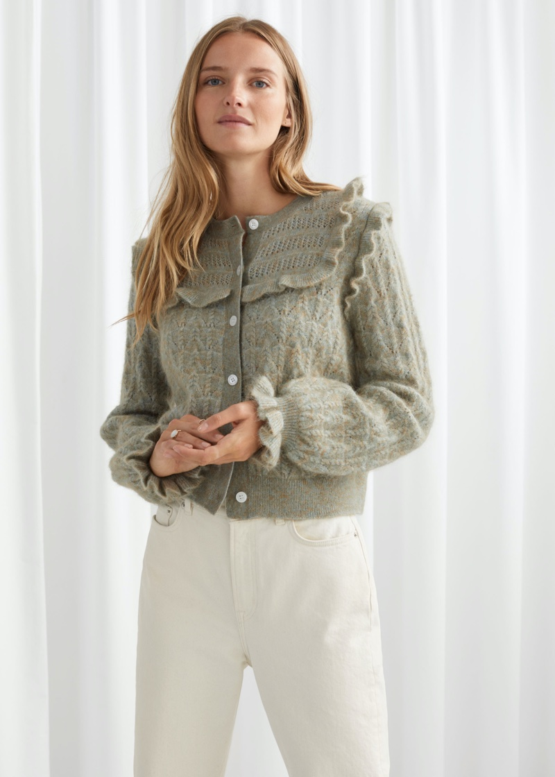 & Other Stories Ruffled Cable Knit Cardigan $99